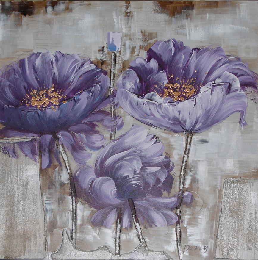 Schilderij: De Gouden Nectar, een paarse bloem met gouden nectar.