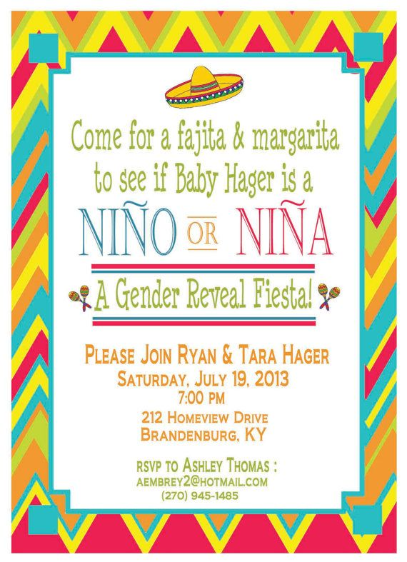 This is friggen' perfect!!! Baby Gender Reveal Mexican Fiesta Shower Invitation
