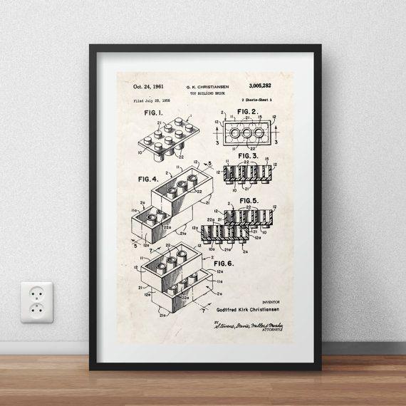 Printable Art, Lego print - Lego brick patent Poster - DIGITAL ...