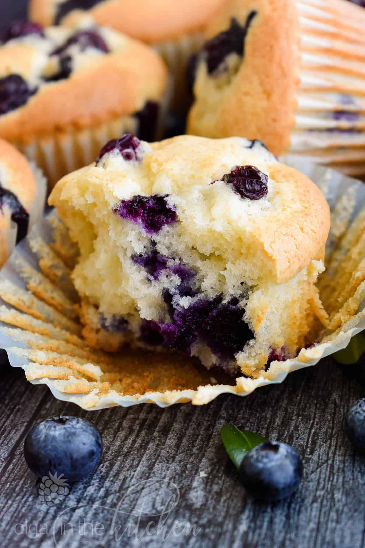 Sour Cream Blueberry Muffins Olga In The Kitchen Recipe In 2020 Blue Berry Muffins Sour Cream Blueberry Muffins Mini Blueberry Muffins
