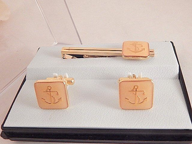 Tie Clip Cuff Links Men's Jewelry Formalwear Accessories Vintage Gold Metal Nautical Anchor Gift Set Father of the Bride Wedding