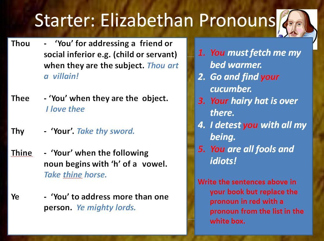 Elizabethan language Introduce students to Elizabethan