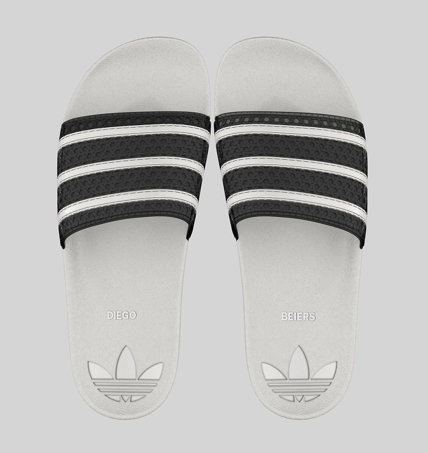 93d16c54a6b1d Adidas Adilette Athletic white and black striped custom slides