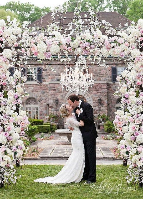 22 Romantic Flower And Crystal Chandelier Decorated Wedding Arch