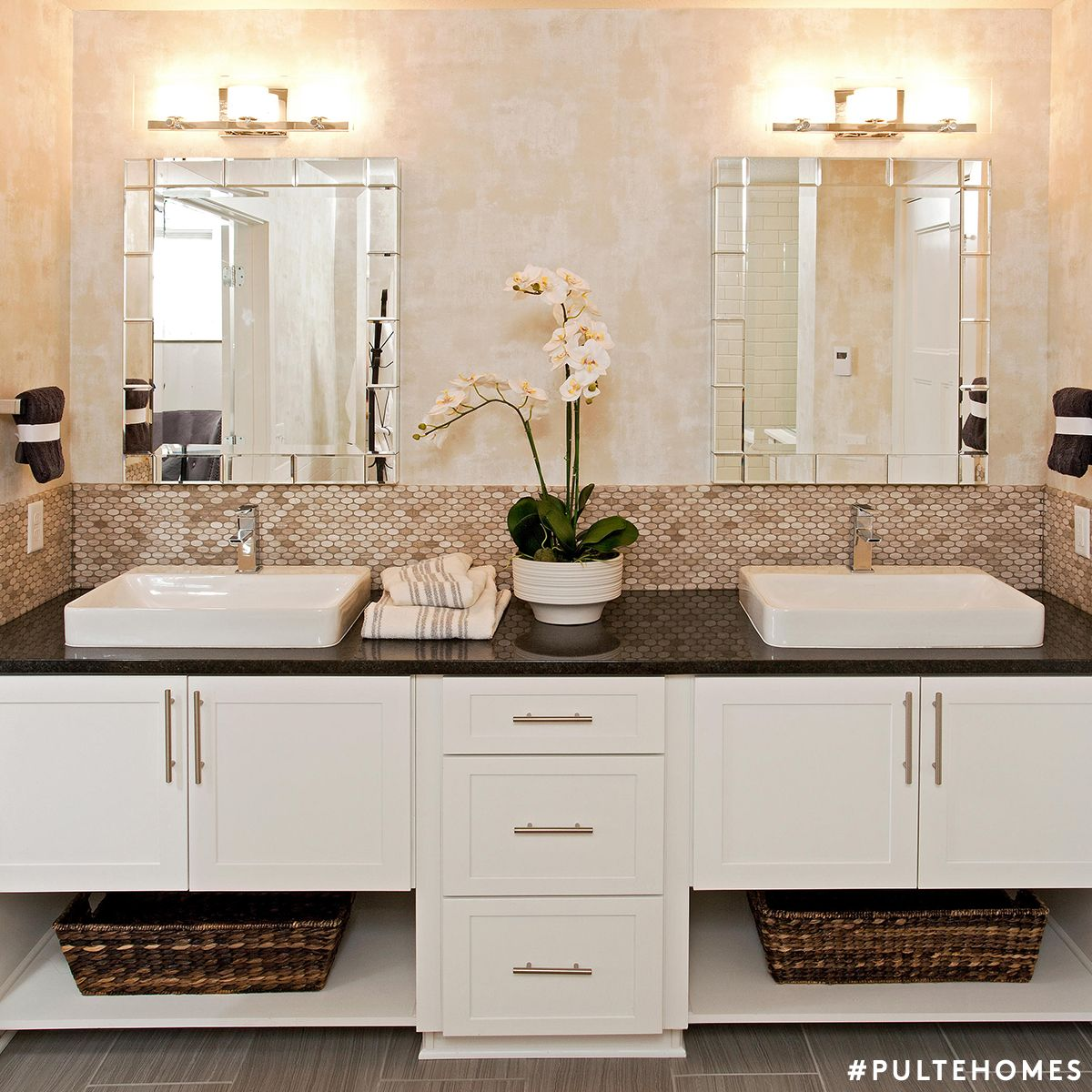 13 Dreamy Bathroom Lighting Ideas: This Bathroom Dressed In White & Tan Looks So Fresh