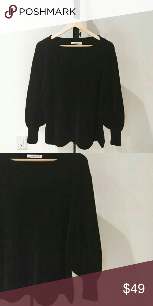 Zara Velour Puff Sleeve Sweater A soft velvety sweater that's unfortunately too big for me. Unworn, no wear/tear/stains. Zara Sweaters Crew & Scoop Necks
