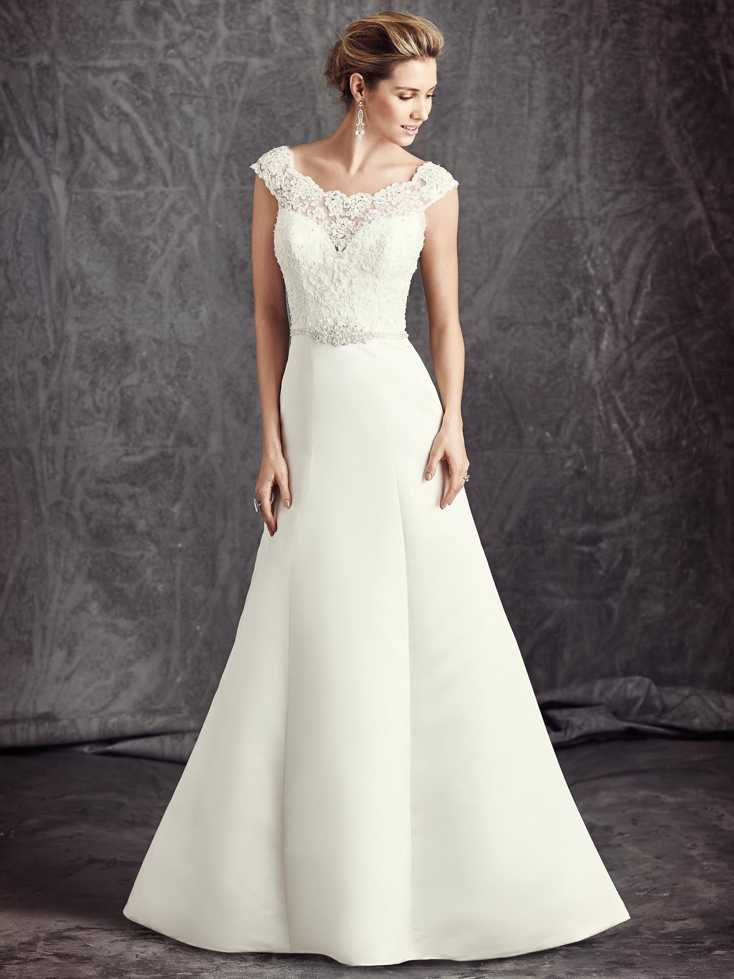 Drop waist a line wedding dress  Ella Rosa Style BE  ALine  OfftheShoulder  Dropped Waist