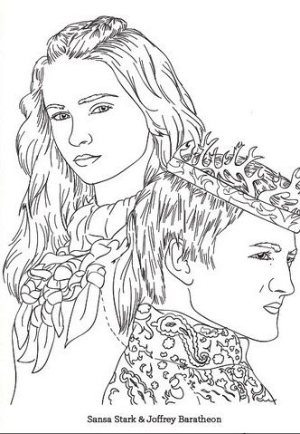 Game Of Thrones Coloring Page Sansa And Joffrey