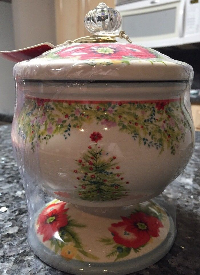 pioneer woman holiday cheer 5 candy dish with lid christmas tree sold out ebay - Pioneer Woman Christmas
