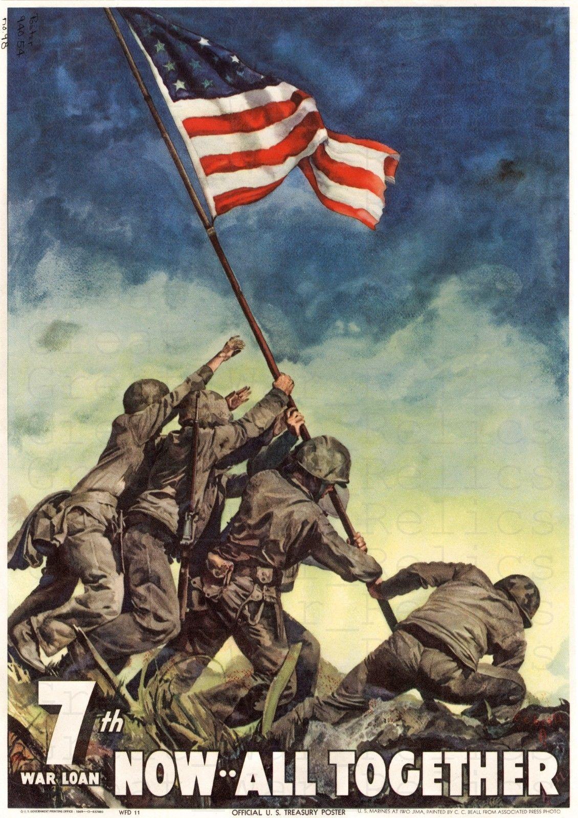 35e461e88c38 WWII American Flag Raising Propaganda Poster - WW2 Iwo Jima Memorial Photo  USS