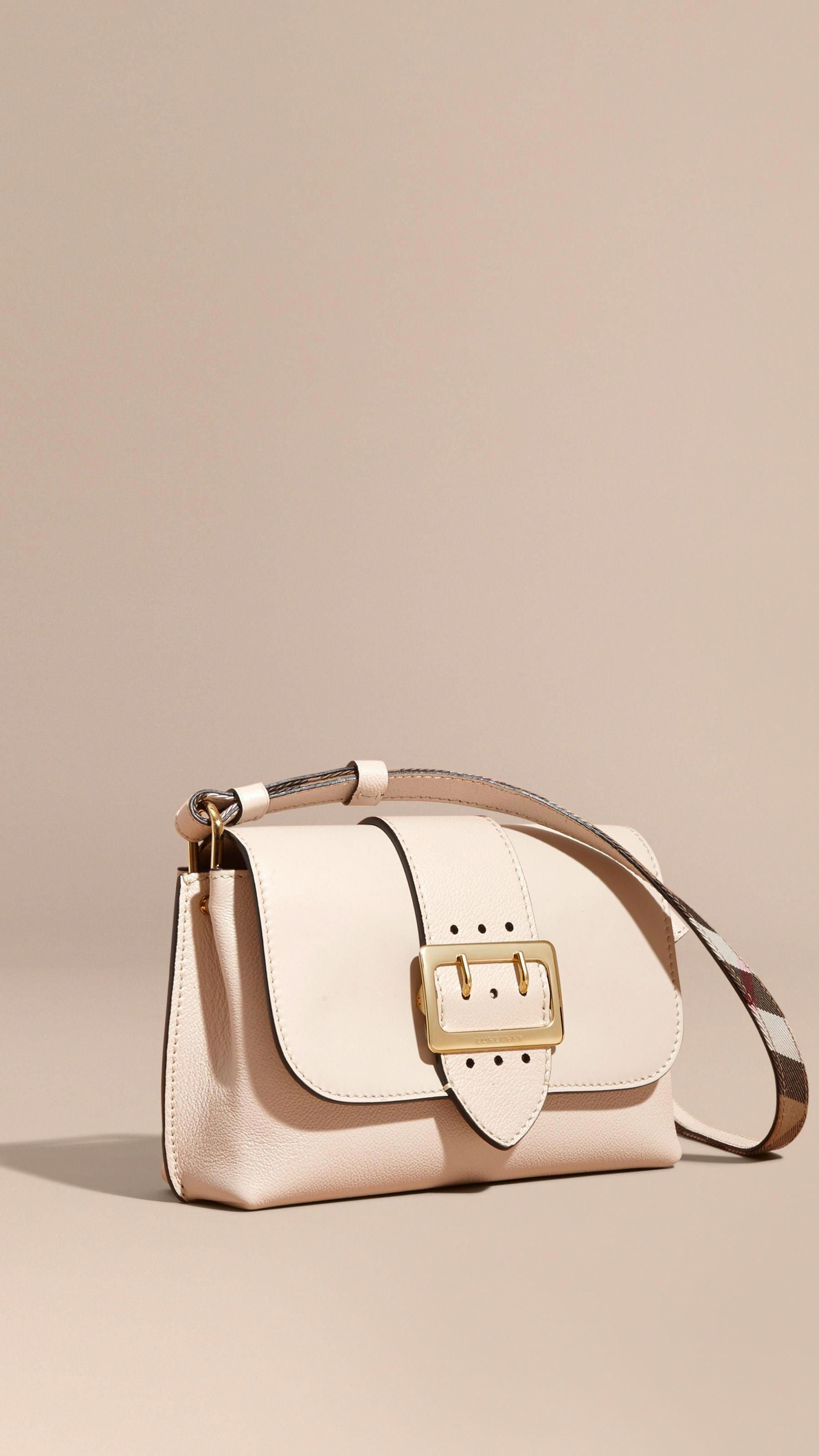 d393536ab504 The Buckle Crossbody Bag in Leather Limestone
