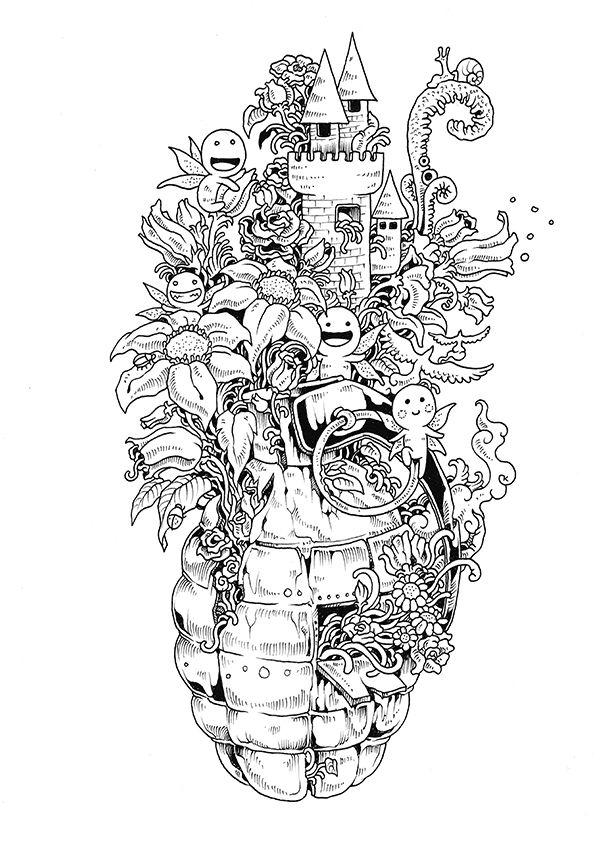 Kerby Rosanes Doodle Invasion Coloring Book Livro De Colorir Ideia