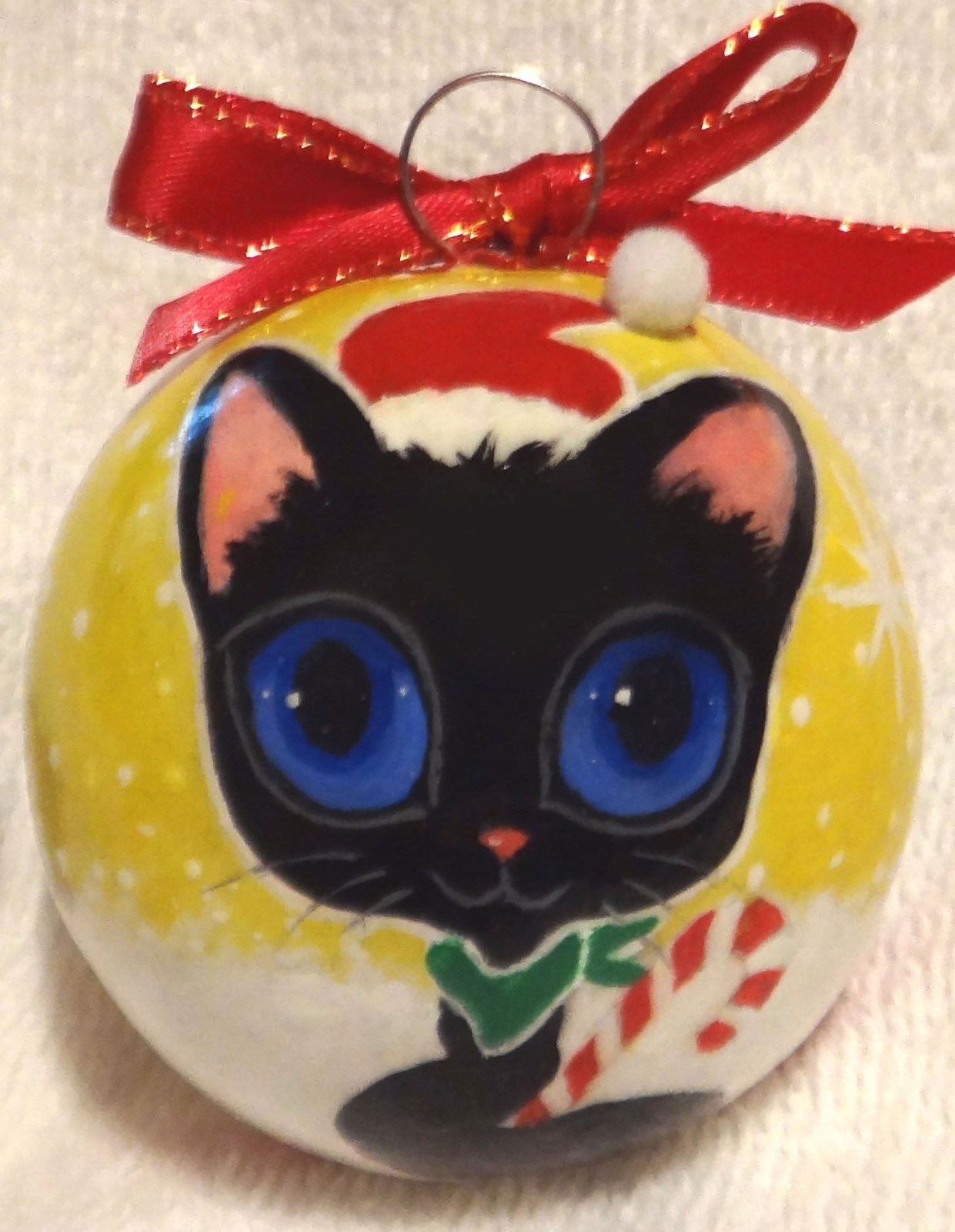 Black Cat Santa Christmas Ornament Candy Cane Handpainted
