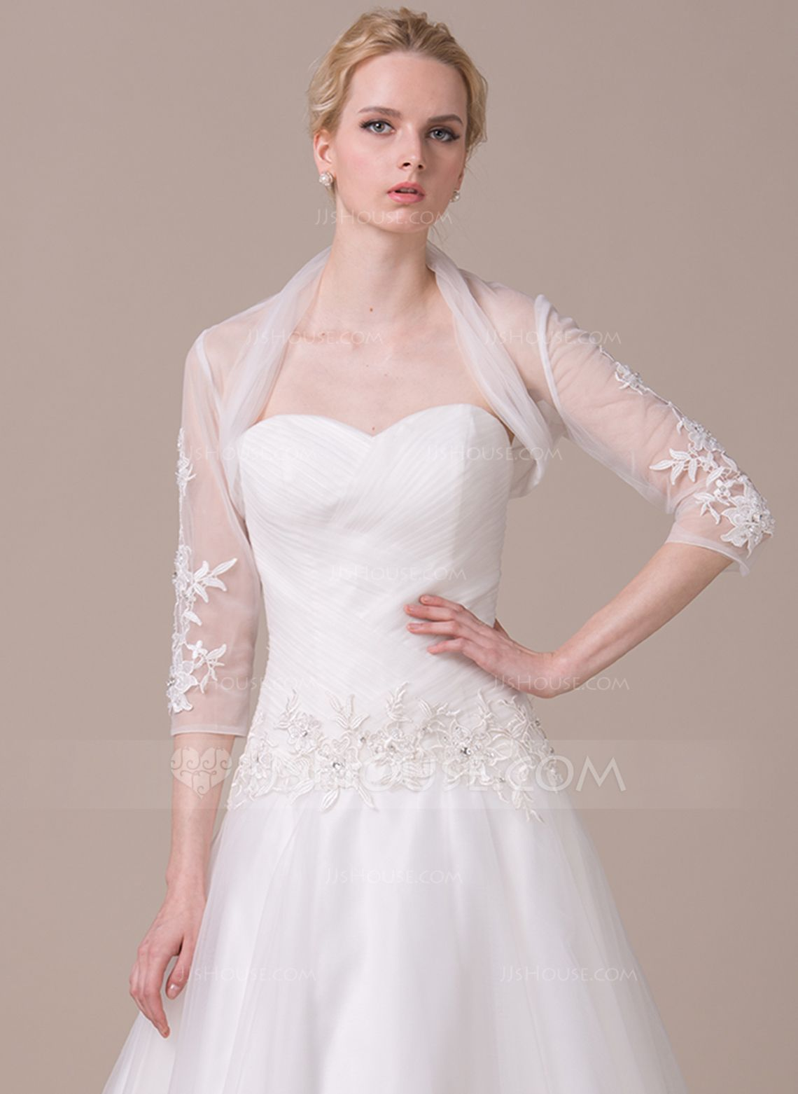 c6c66f515cfc 3/4-Length Sleeve Tulle Wedding Wrap (013063133) - JJsHouse ...