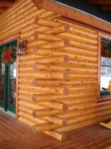 Butt and pass cedar wall joint log homes log siding How to build a butt and pass log cabin
