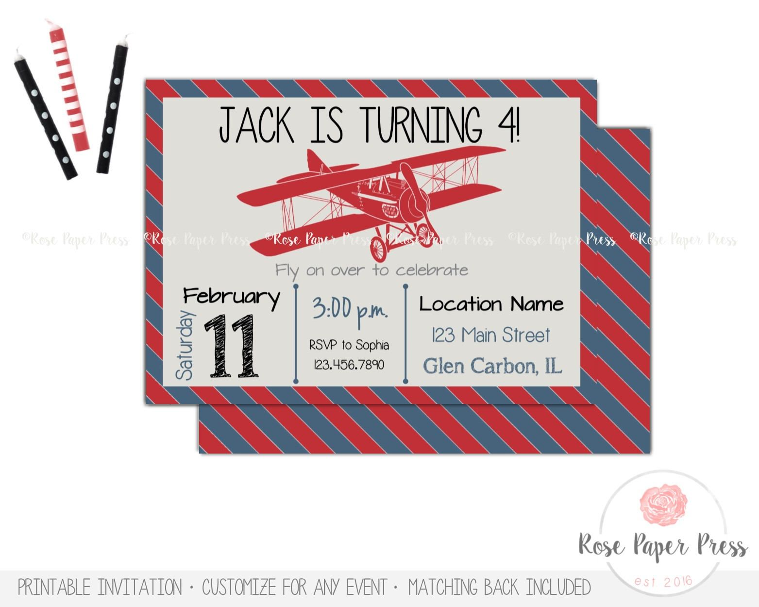 Airplane Birthday Invitation, Vintage Airplane Birthday Party ...