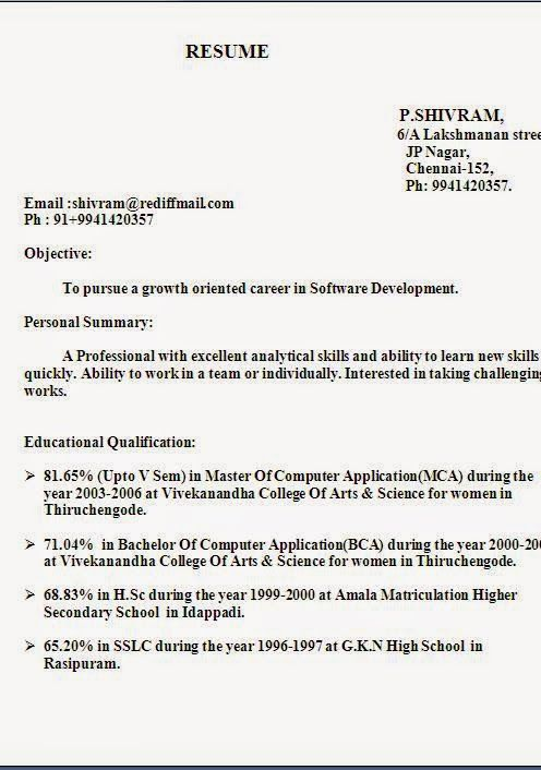 fazer curriculum vitae Excellent Resume \/ CV Format with Career - resume format for freshers bca
