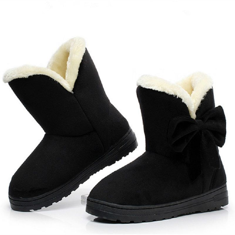 ab774bd552a25 Women winter fashion solid snow boots female ankle boots with fur ...