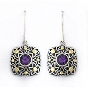 Жасмин цветы стерлингового серебра 925 качают серьги с 14k Solid Gold в сочетании с Аметист Камень