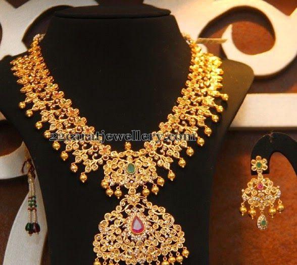 Bridal Diamond Necklace And Haram Set: Malabar Gold Uncut Broad Haram