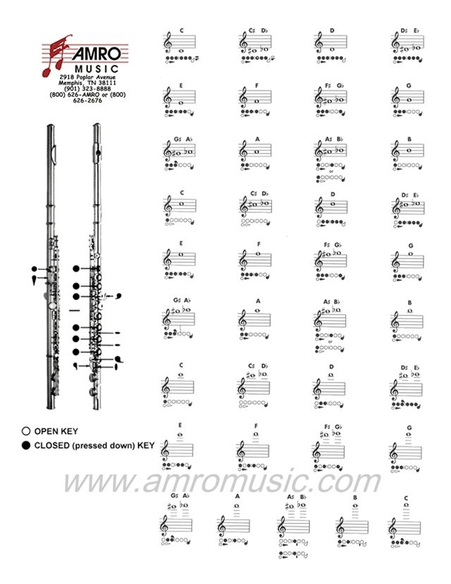 Flute Fingering Chart  Flute    Flute Sheet Music And