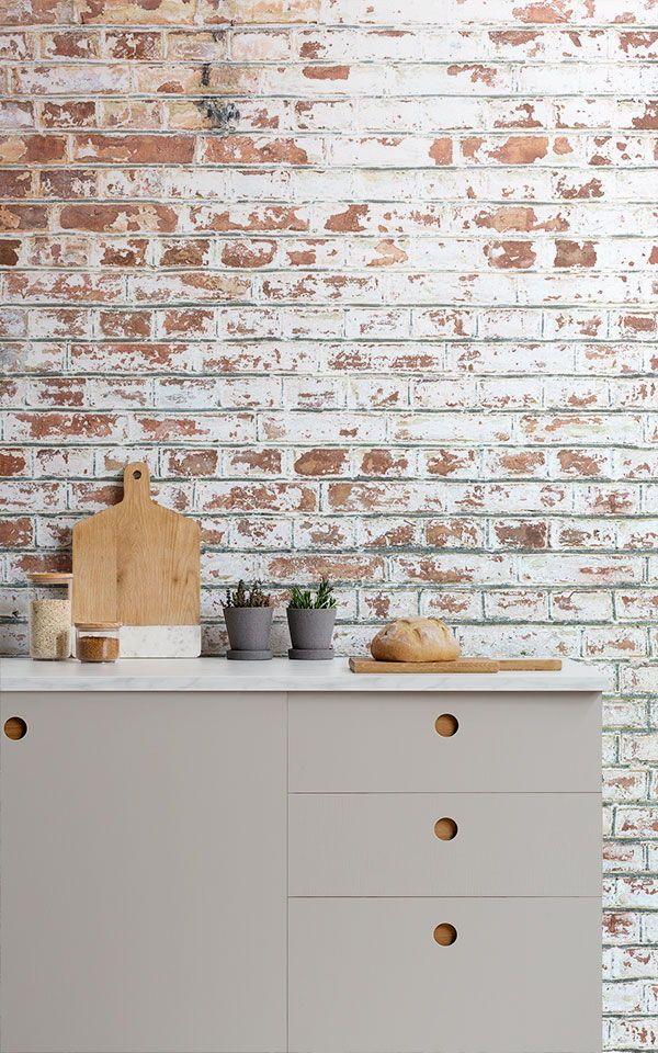 Costo Di Un Murales.Decorazione Murale Con Mattoni Dipinti Di Bianco In 2019