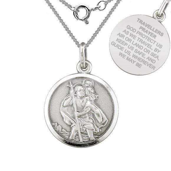 St christopher travellers prayer sterling silver antique finish st christopher travellers prayer sterling silver antique finish necklace aloadofball Gallery