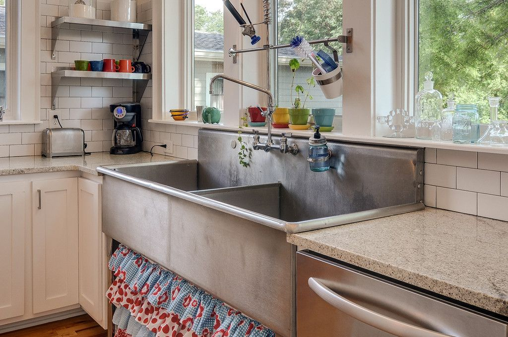 Commercial Stainless Steel Sink Subway Tile Splashes Of