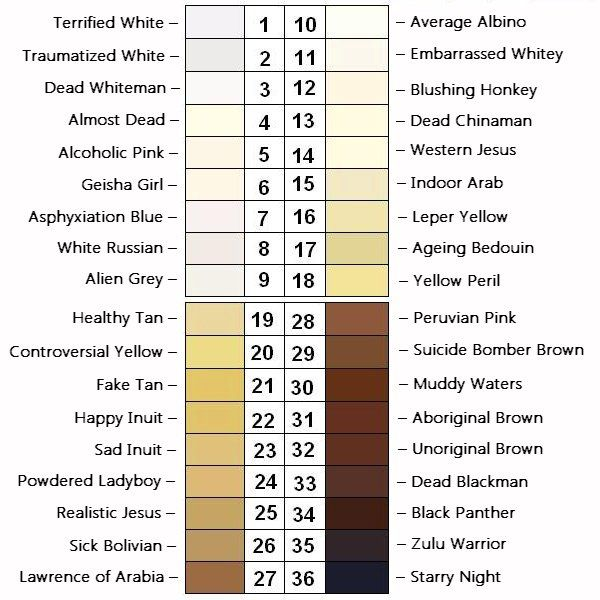 World Skin Tone Chart With Names And Color Codes Skin Tone Chart