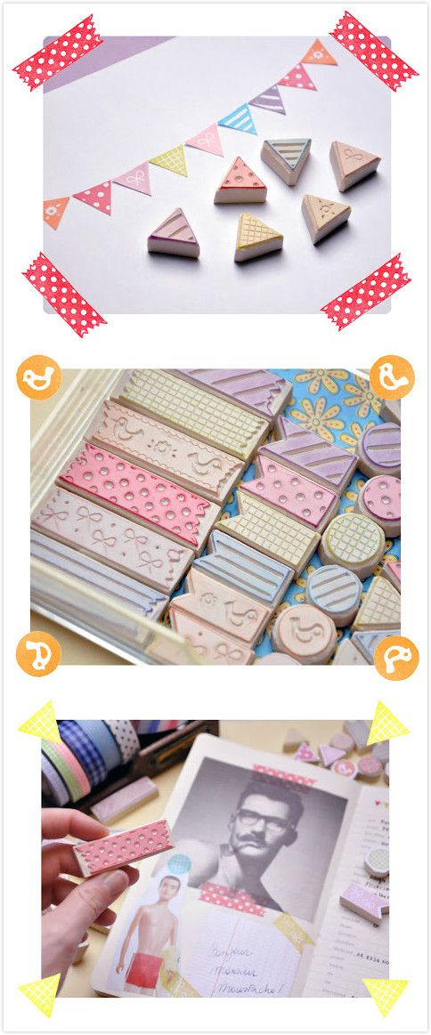 cute handcrafted washi tape stamp washi tape diy pinterest stempel stempeln und stempel. Black Bedroom Furniture Sets. Home Design Ideas