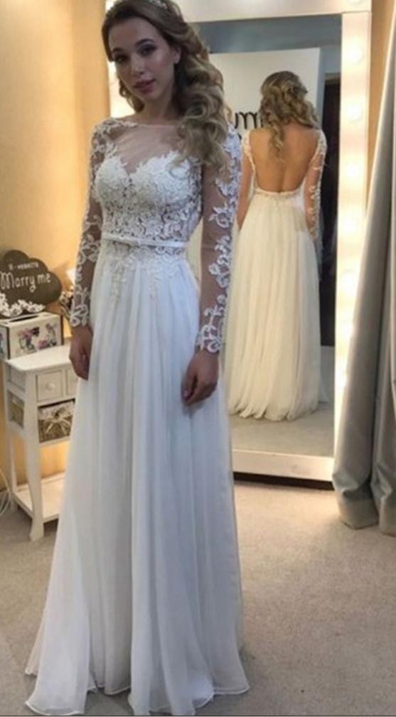 Elegant Aline Bateau Long Sleeves Illusion Back Long