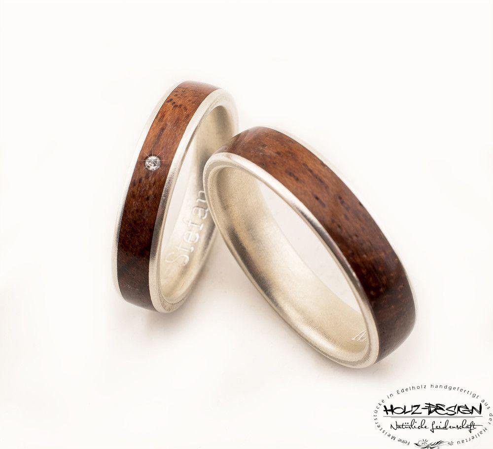 Holzringe - Silber Eheringe 3 Verlobung Hochzeit mit Holz - ein