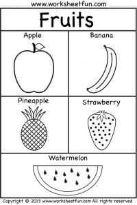 Fruits Coloring 3 Worksheets Kindergarten worksheets