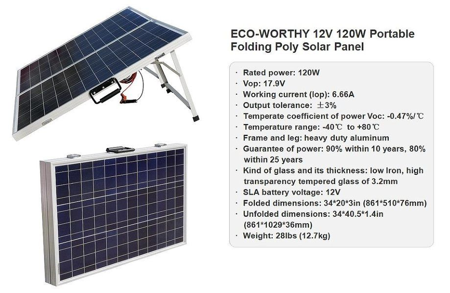 Eco Worthy 12 Volts 120 Watts Portable Folding Polycrystalline Pv Solar Panel Foldable Solar Suitcase Solar Panels Solar Pv Panel Solar