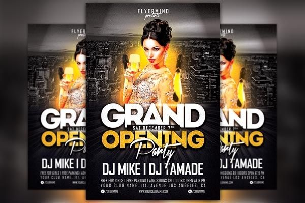 Grand Opening Party Flyer Template Vol 1 Party Flyer Anniversary Flyer Free Psd Flyer Templates