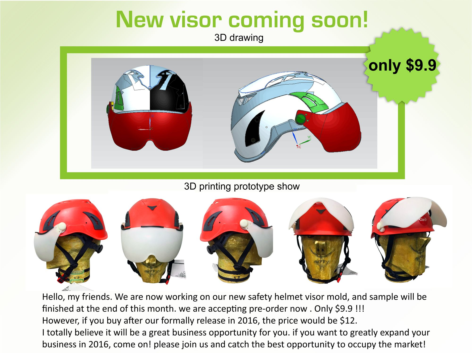 we are presale the new visor for the safety helmet before