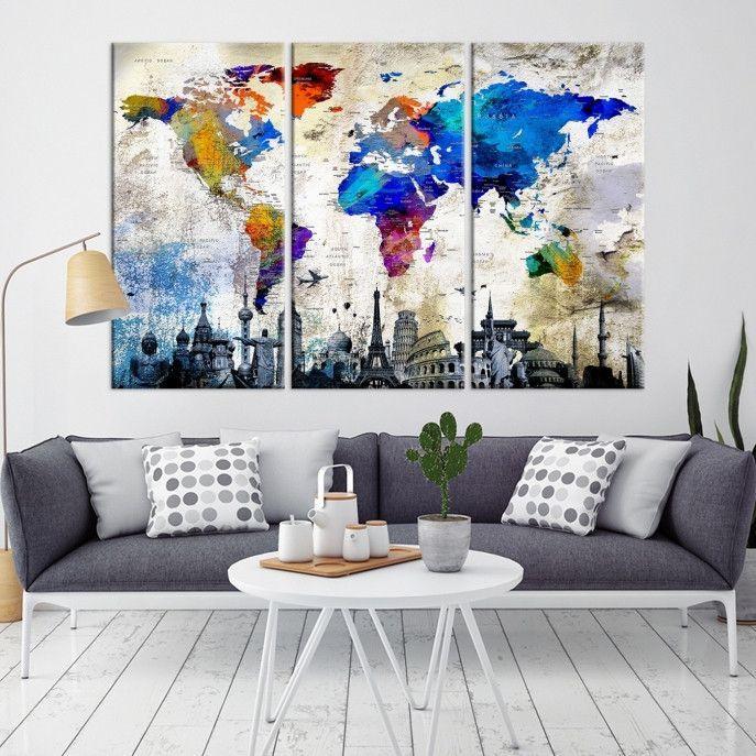 95621 Large Wall Art World Map Watercolor Canvas Print World Map Poster Print Con Imagenes Decoracion De Unas Cuadros Para Sala Decoracion Hogar
