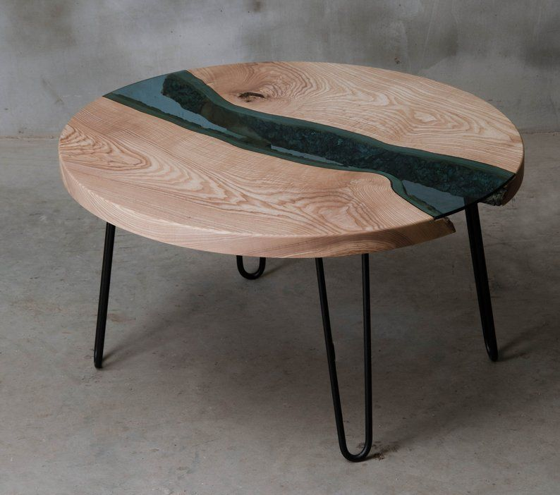 Custom River Table Round River Coffee Table Made Of Ash Wooden