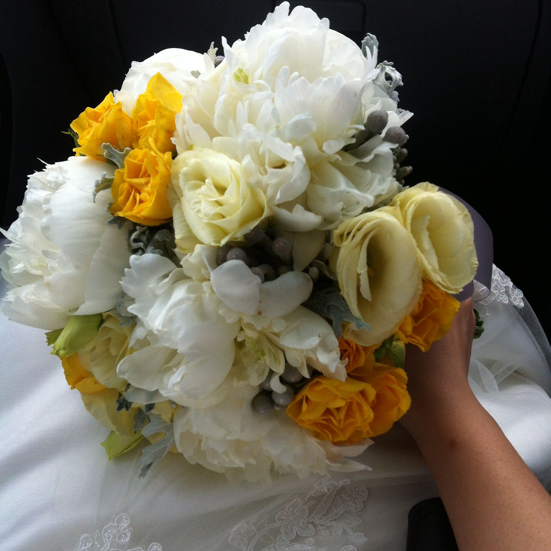 Yellow And Grey Wedding Flowers: Grey And Yellow Wedding Flower Bouquet, White Peony
