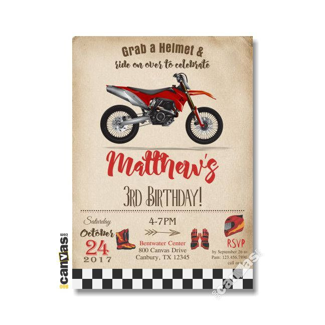Red dirt bike party invitation dirt bike birthday dirt bike red dirt bike party invitation dirt bike birthday dirt bike invitations boy biker motorcycle party 5th 6th 7th 8th 9th 10 motocross 457 filmwisefo