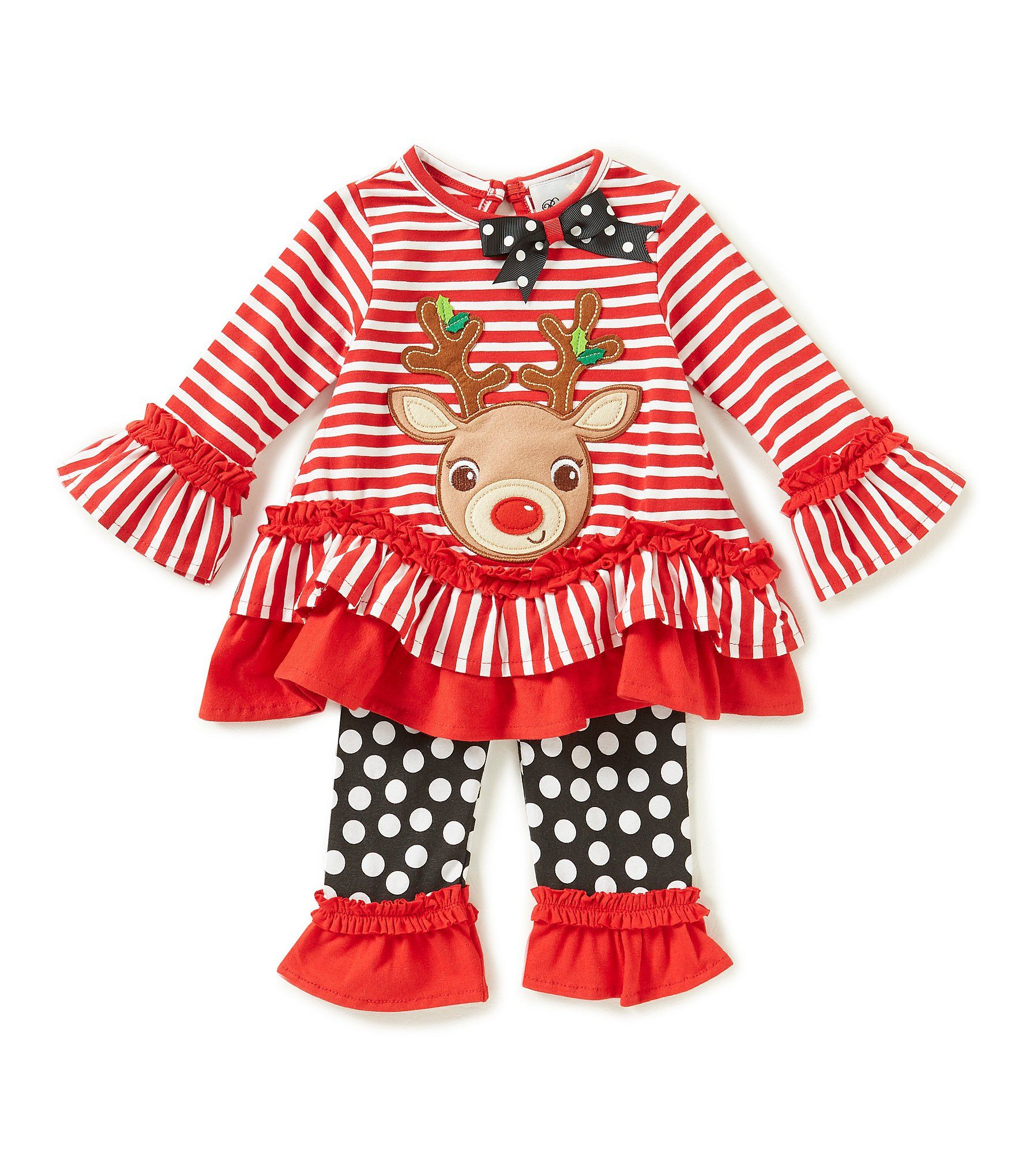 41859f5ae Rare Editions Baby Girls 324 Months Christmas Reindeer Striped Top and  Dotted Leggings Set #Dillards