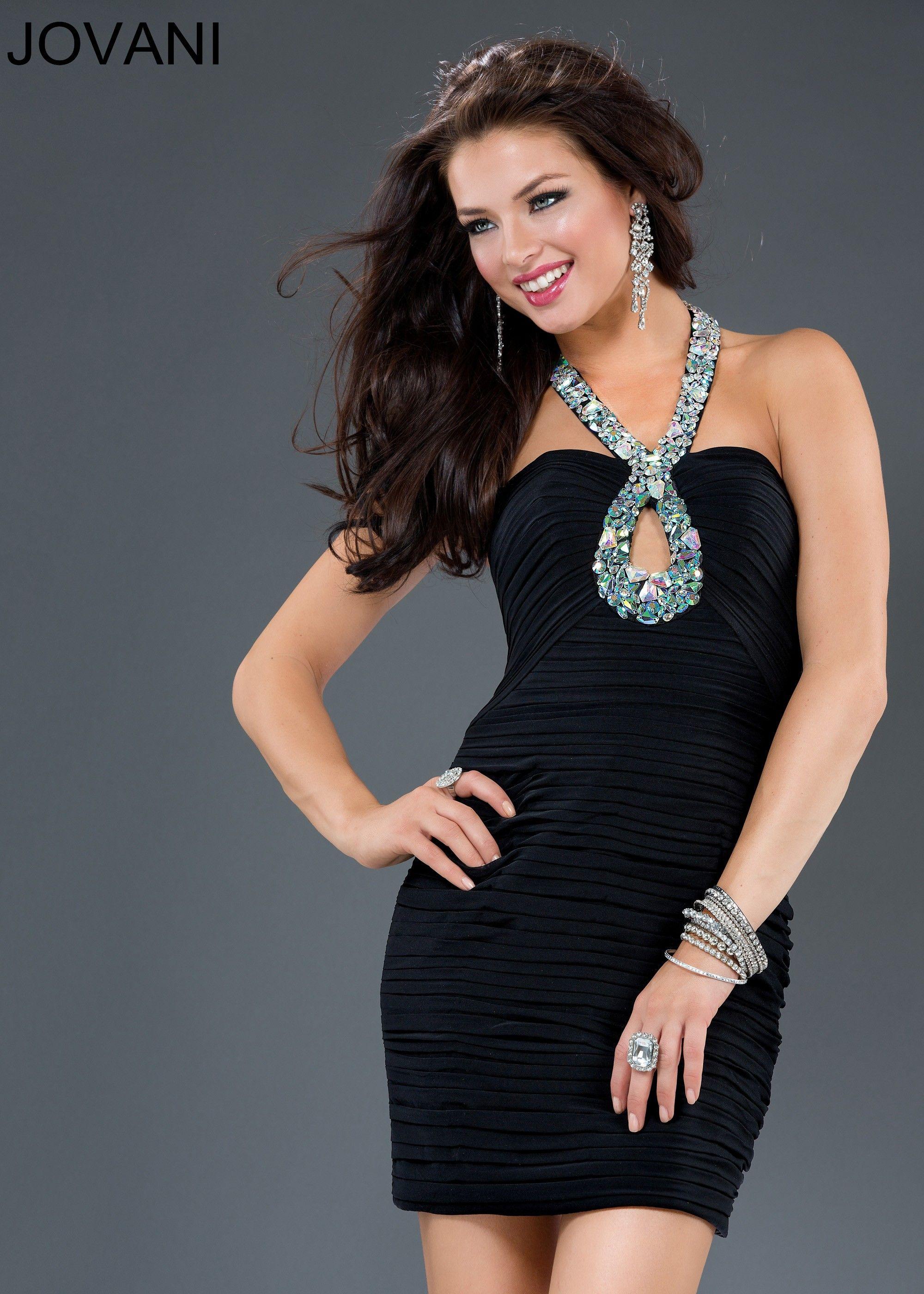 Jovani 90358 Jeweled Halter Dress | Little Black Dresses | Pinterest
