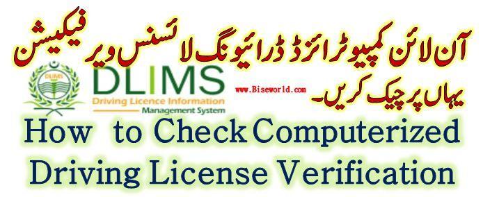 DLIMS – Check Driving License Verification Punjab Pakistan