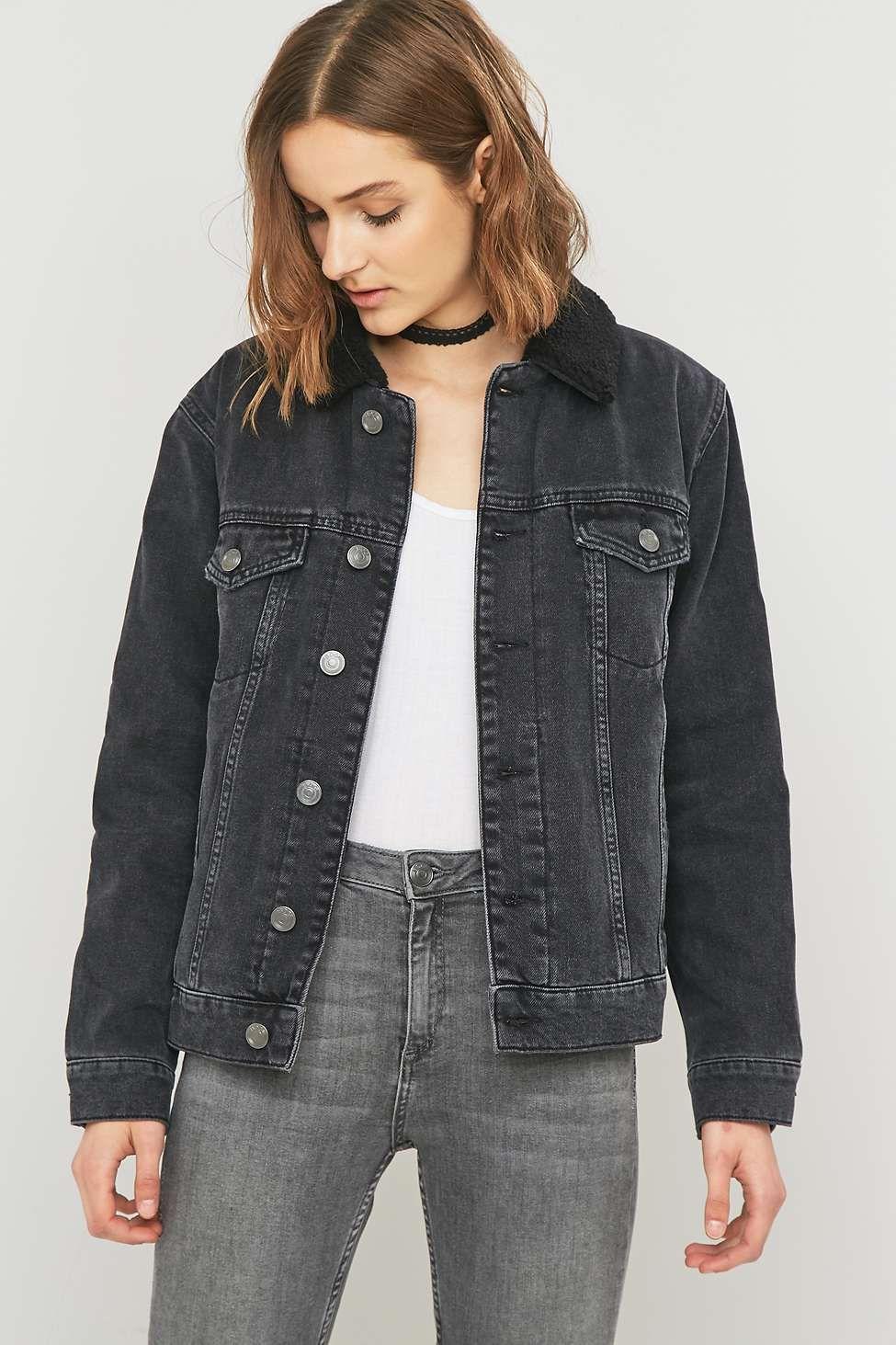 Veste en jean noir oversize