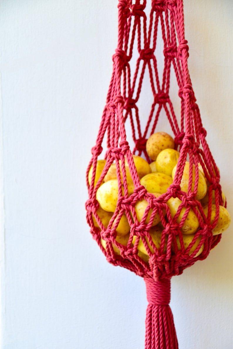 macrame hanging basket hanging fruit basket vegetables