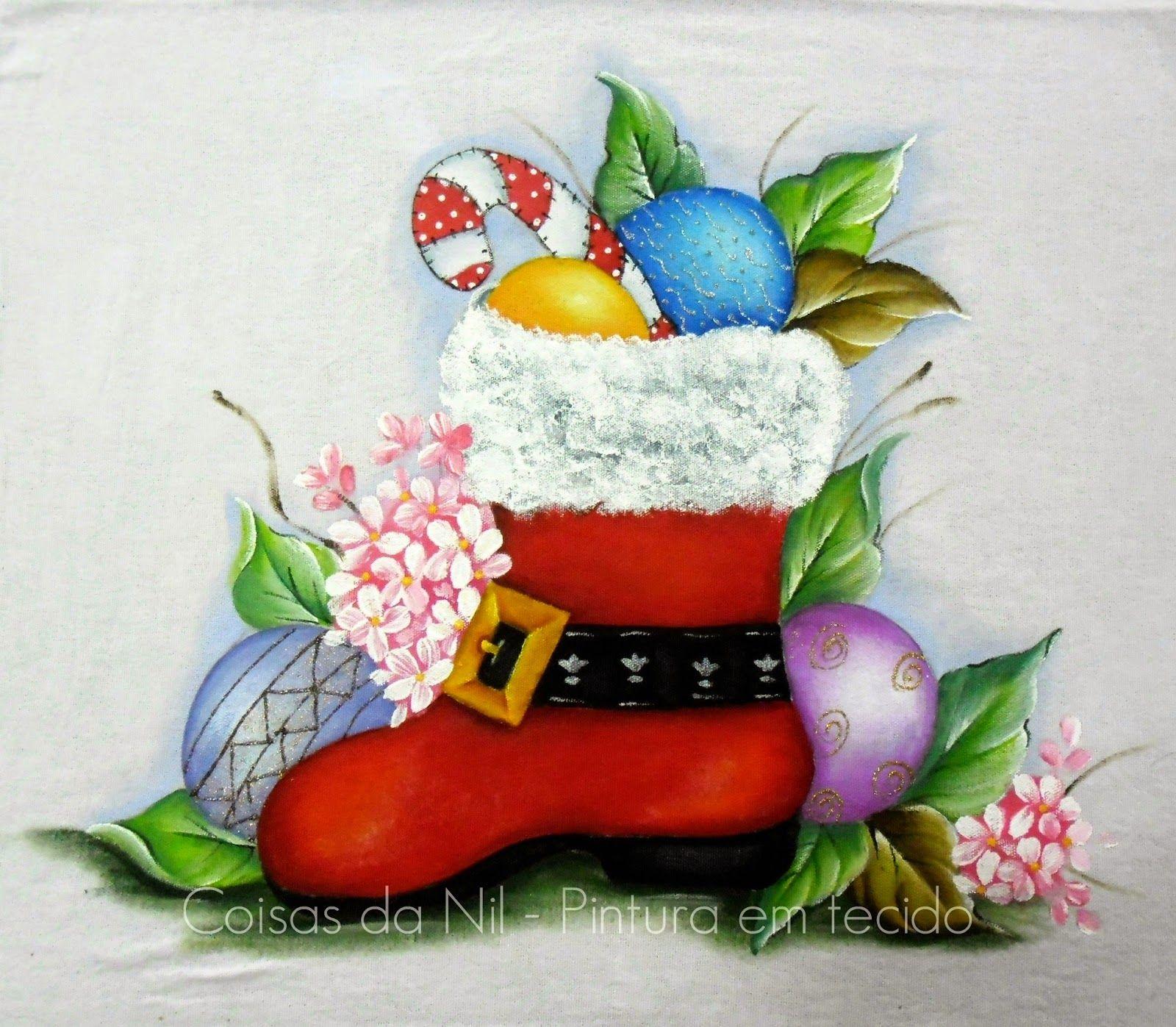 Bota E Bolas De Natal Pintura De Natal Pinturas De Natal