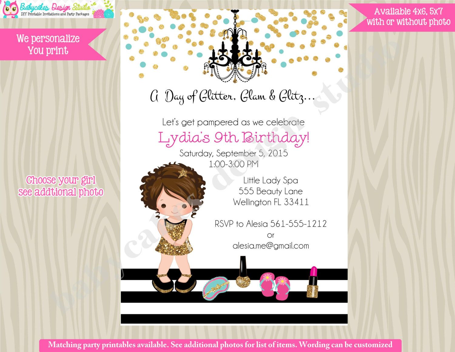 Glamour Spa Party Invitation invite Dress Up Pamper Spa Day Glam ...