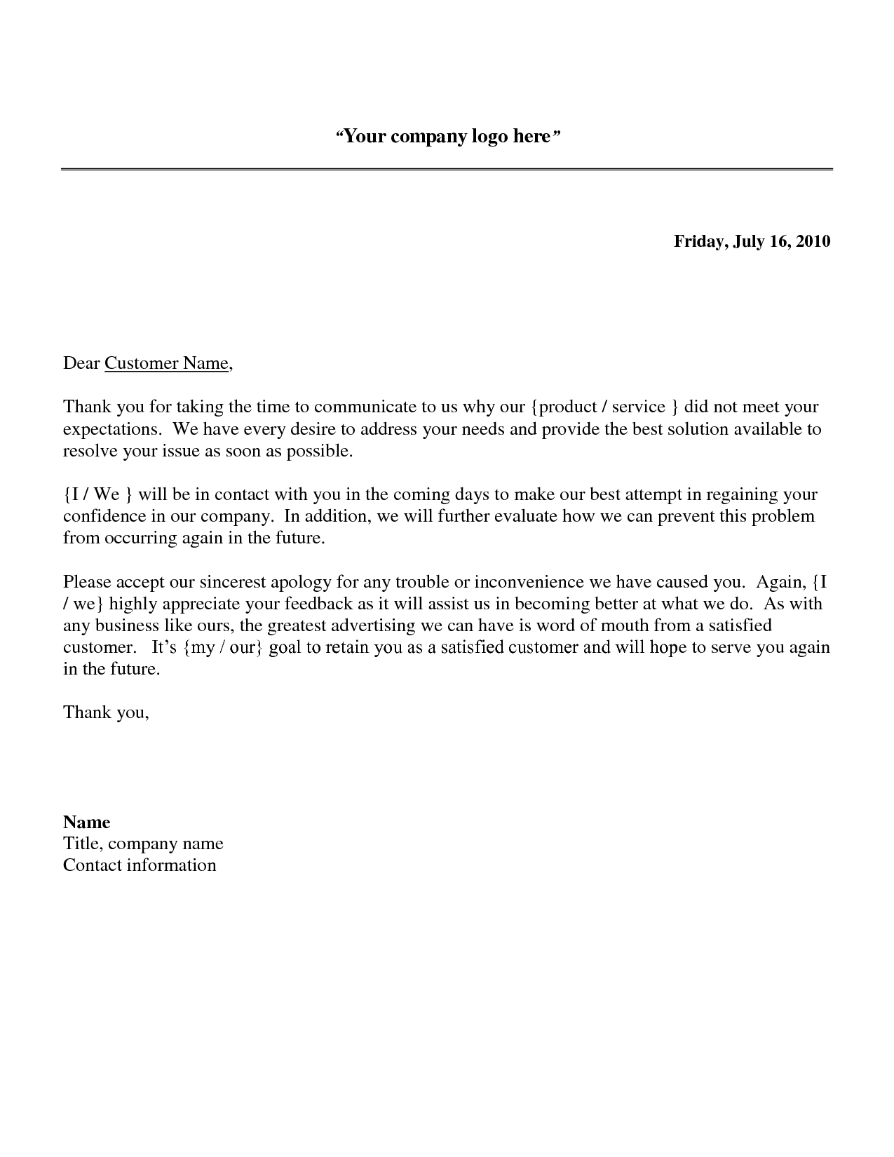 Business Apology Letter Sample Download As DOC Images FrompoLetter