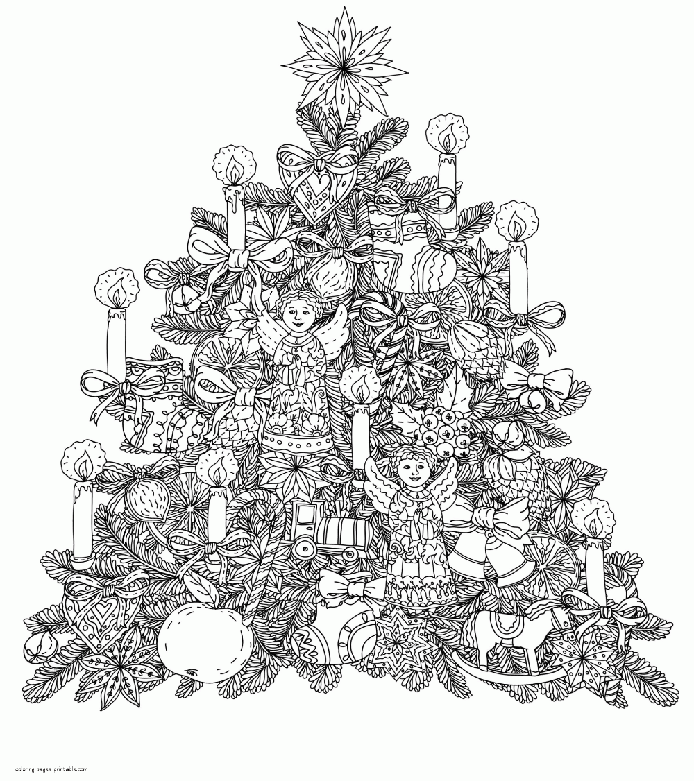 Printable Christmas Tree Coloring Pages For Adults Christmas Tree Coloring Page Tree Coloring Page Printable Christmas Coloring Pages [ 1126 x 1000 Pixel ]