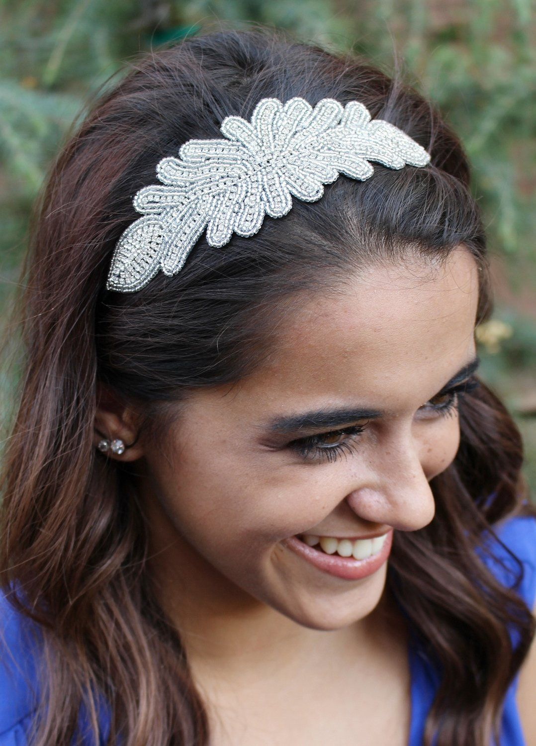 "amazon: pink pewter ""polly"" silver beaded stretch band headband"